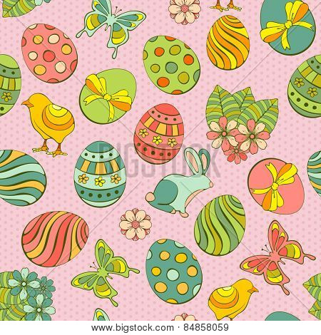 Cute Easter seamless background with painted eggs and other holiday symbols