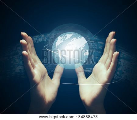 Hands with holographic projection, Future Projecting concept