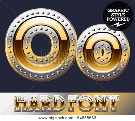 Vector set of bold luxury font in gold color with riveted border. Letter O