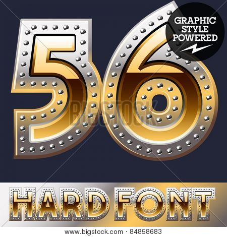 Vector set of bold luxury font in gold color with riveted border. Numbers 5 6
