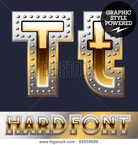 Vector set of bold luxury font in gold color with riveted border. Letter T