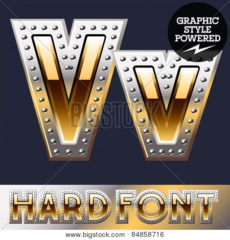 Vector set of bold luxury font in gold color with riveted border. Letter V