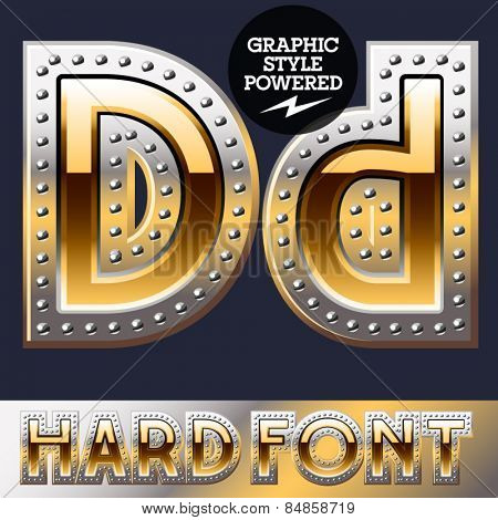 Vector set of bold luxury font in gold color with riveted border. Letter D