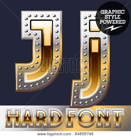 Vector set of bold luxury font in gold color with riveted border. Letter J