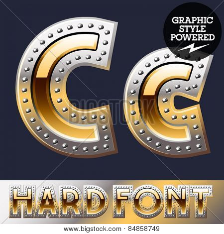 Vector set of bold luxury font in gold color with riveted border. Letter C