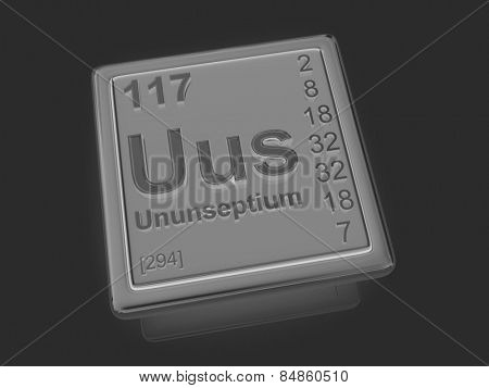 Ununseptium. Chemical element. 3d