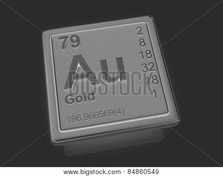 Gold. Chemical element. 3d