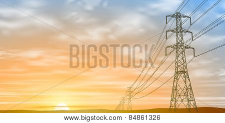 Electrical Power Lines and Pylons with Sunrise, Sunset. Vector EPS 10
