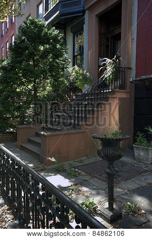 Greenwich Village, A Neighborhood On The Island Of Manhattan In New York.