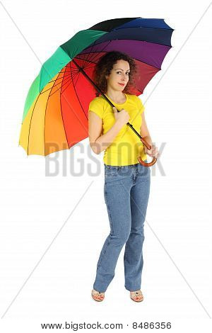 Young Beauty Woman In Yellow Shirt With Multicolored Umbrella Standing Isolated On White