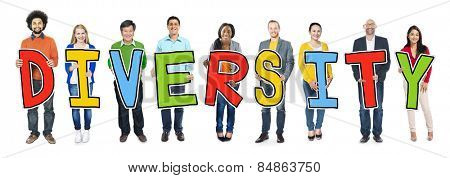 Group of Diverse People Holding Word Diversity