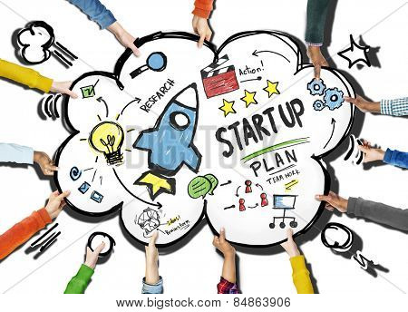 Start Up Business Launch Success Team Support Concept