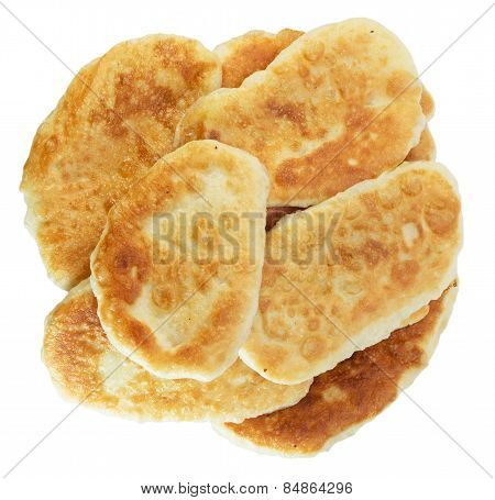 Fried Pattis Isolated On The White Background
