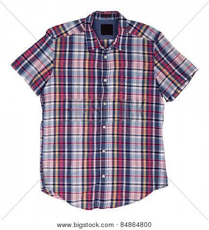 Man's blue red cotton plaid shirt