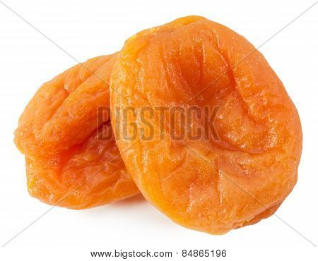Dried Apricots Isolated On The White Background