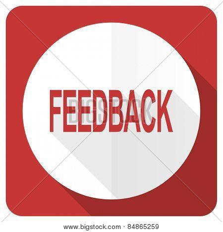 feedback red flat icon