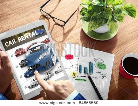 Car Rental Transportation Logistics Selection Man Working Concept