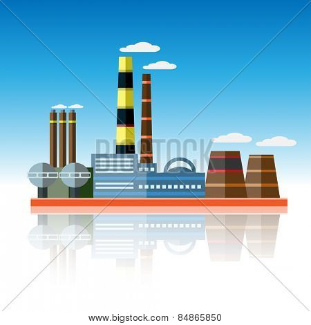 Icon of plant of industrial production. Vector illustration.