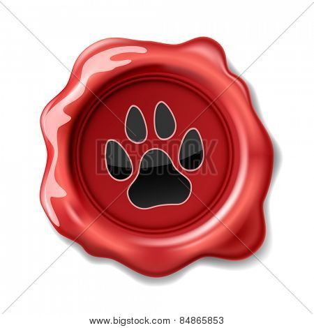 Animal Paw Print on the Wax Seal. Icon. Vector. Illustration.