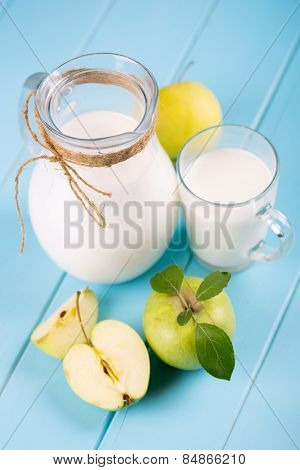 healthy food. milk and apple