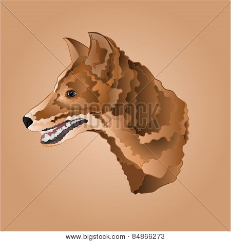 Brown Dog Head Vector