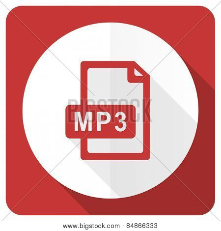mp3 file red flat icon