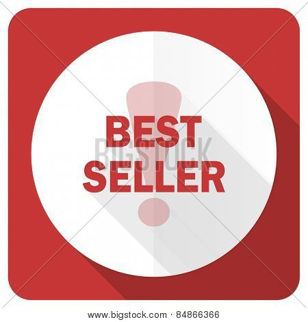 best seller red flat icon