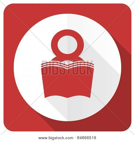 book red flat icon reading room sign bookshop symbol