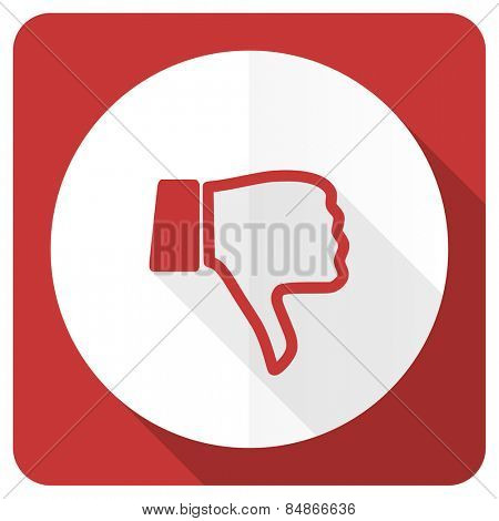 dislike red flat icon thumb down sign