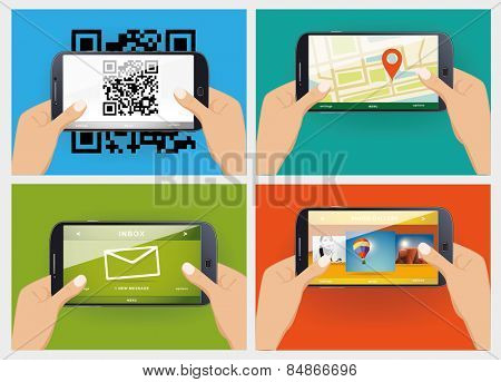 Hands holding mobile phones  using mobile services concept vector illustration
