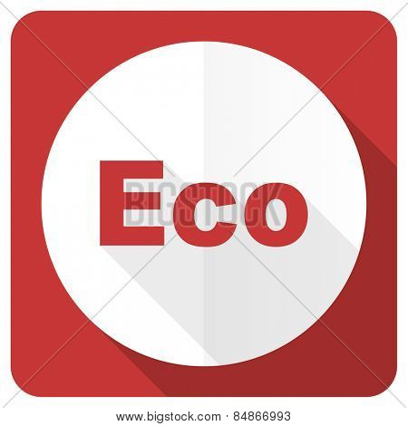 eco red flat icon ecological sign