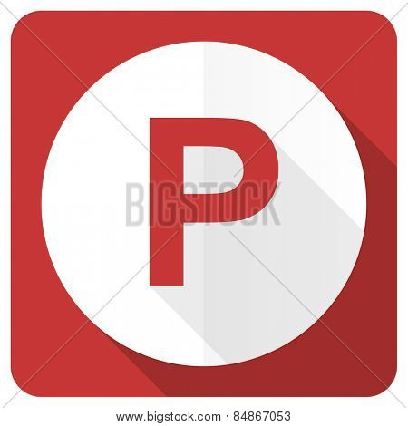 parking red flat icon