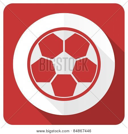 soccer red flat icon football sign