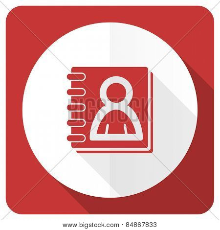 address book red flat icon