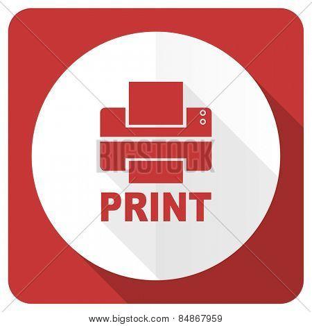 printer red flat icon print sign