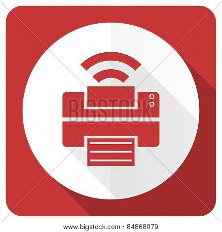 printer red flat icon wireless print sign