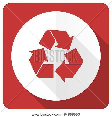 recycle red flat icon recycling sign