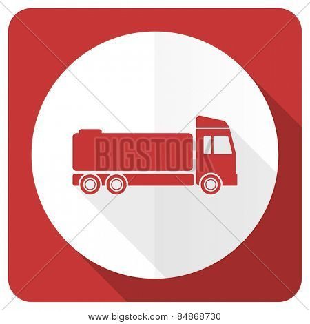 truck red flat icon cargo sign