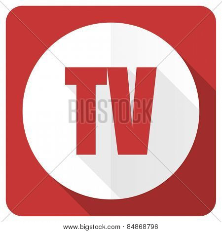 tv red flat icon television sign
