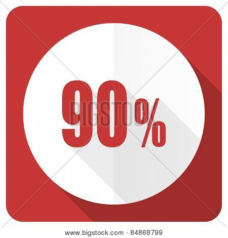 90 percent red flat icon sale sign