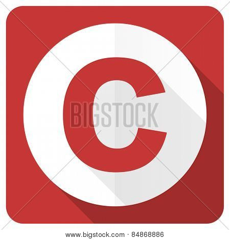 copyright red flat icon