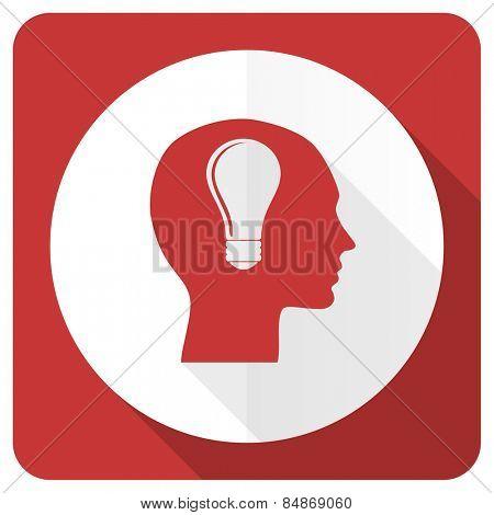 head red flat icon human head sign