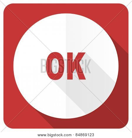 ok red flat icon
