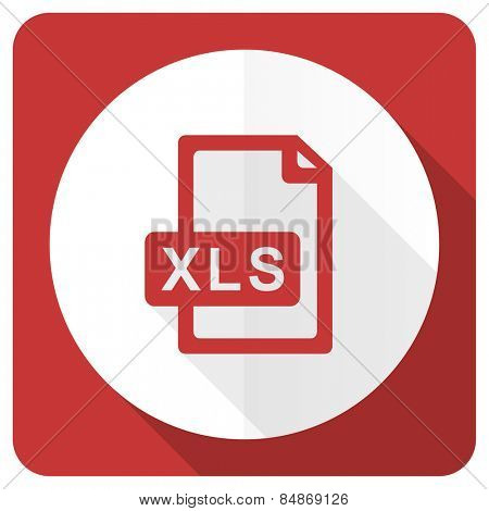 xls file red flat icon