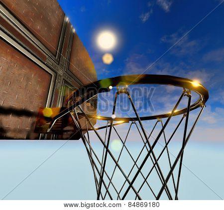 Basketball hoop isolated on blue sky