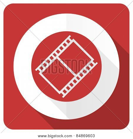 film red flat icon movie sign cinema symbol
