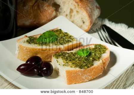 Ciabatta, pesto and olives