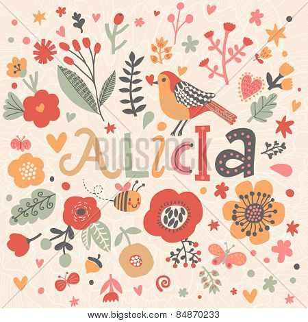 Bright card with beautiful name Alicia in poppy flowers, bees and butterflies. Awesome female name design in bright colors. Tremendous vector background for fabulous designs