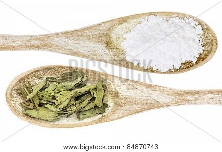healthy and unhealthy sweetener concept - isolated wooden spoons of white cane sugar and stevia leaf