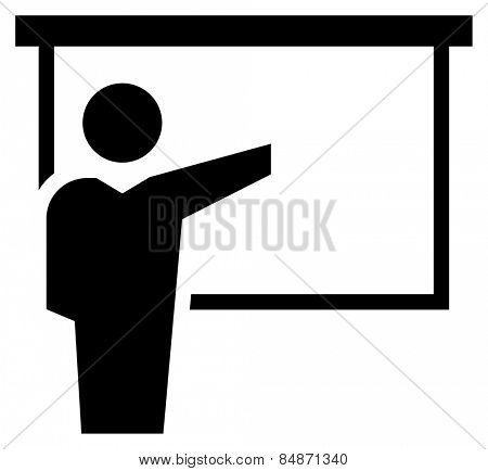Man reporting at presentation icon